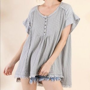 Umgee USA Cotton Babydoll Oversized Tunic Top